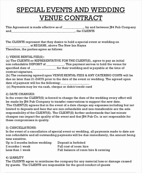 Wedding Venue Contract Template Unique 43 Contract Agreement formats