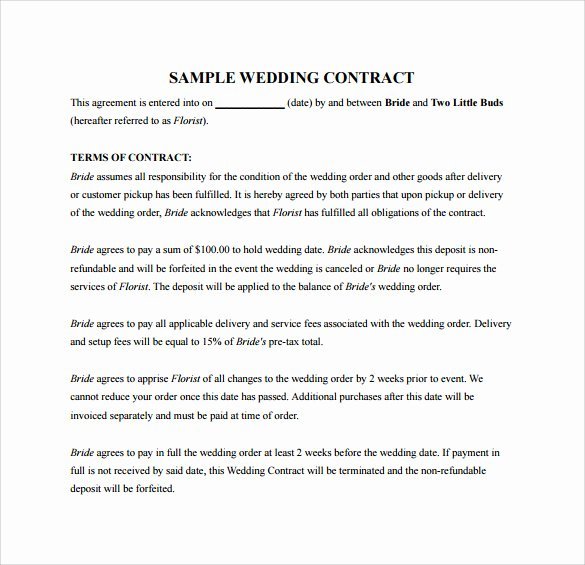 Wedding Video Contract Template Luxury Wedding Contract Template 23 Download Documents In Pdf