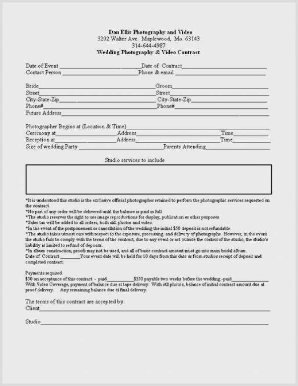 Wedding Videographer Contract Template Best Of Videography Contract Template
