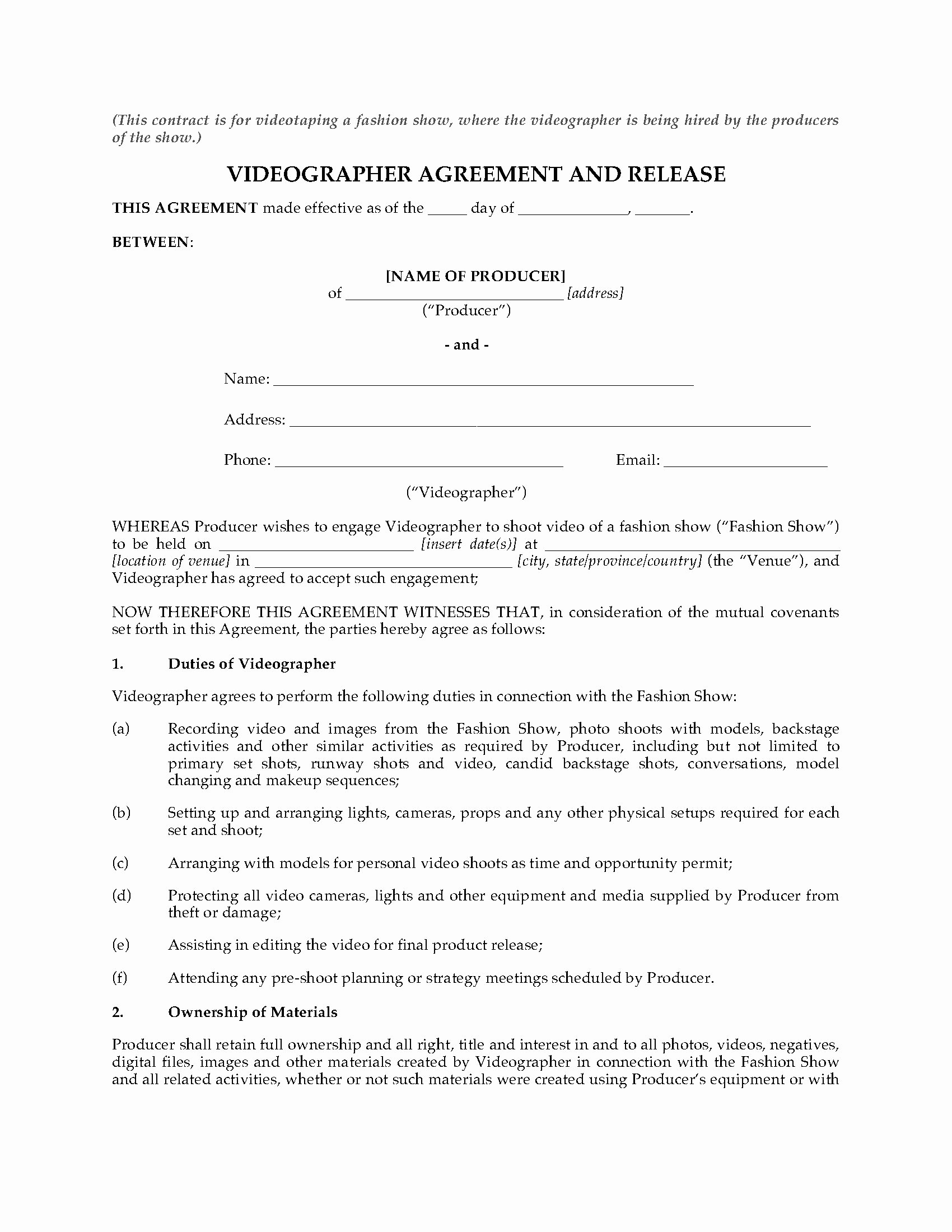 Wedding Videographer Contract Template Elegant Videography Agreement for Fashion Show