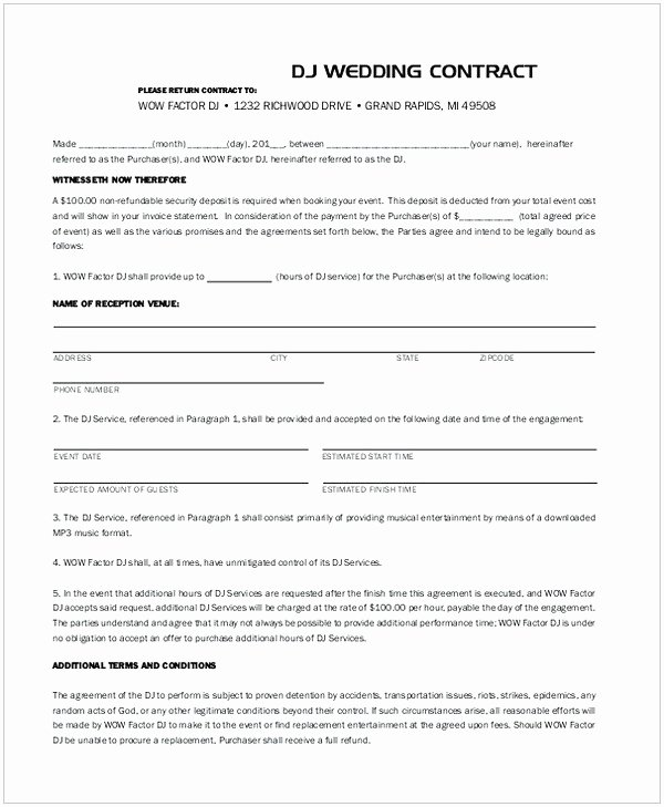 Wedding Videographer Contract Template Inspirational Dj Contract Template