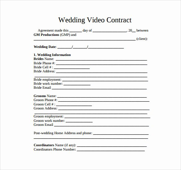 Wedding Videographer Contract Template Lovely Videography Contract Template 11 Download Free