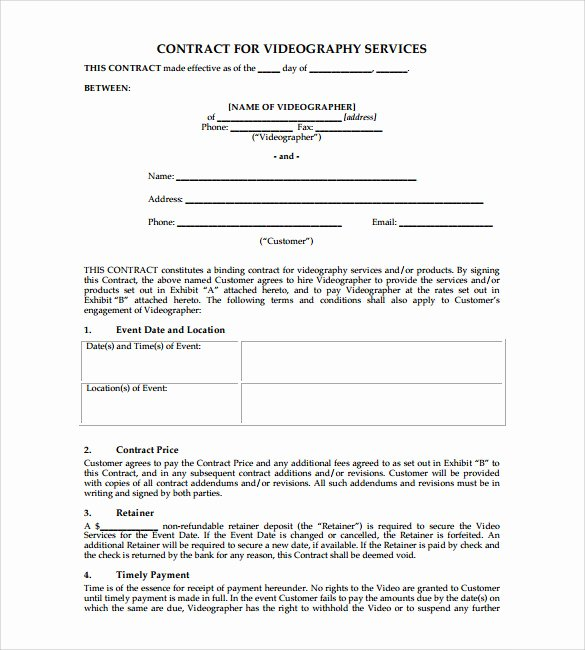 Wedding Videographer Contract Template Lovely Videography Contract Template 9 Download Documents In