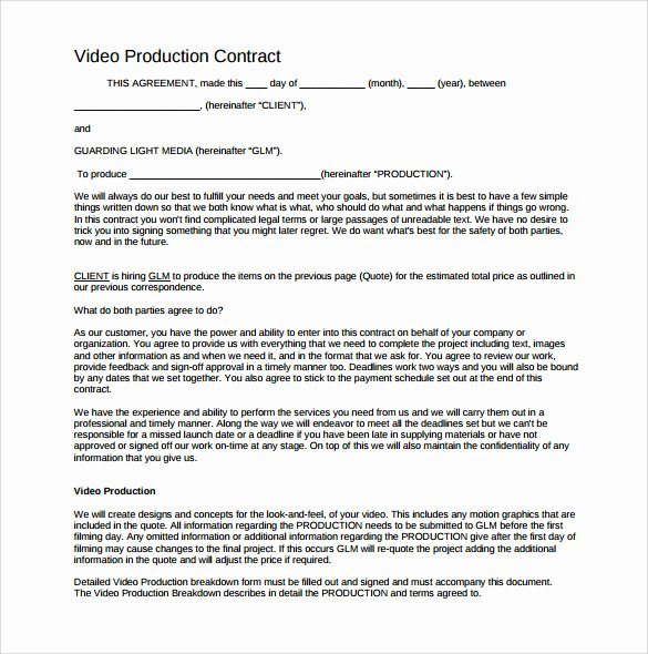 Wedding Videographer Contract Template New Videography Contract Template 9 Download Documents In