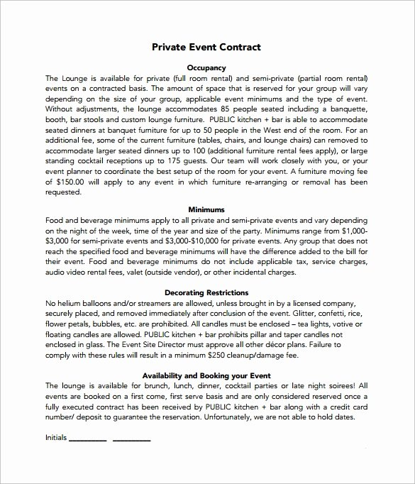 Wedding Videography Contract Template Awesome 19 event Contract Templates to Download for Free