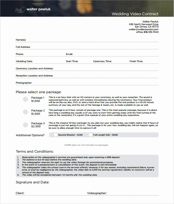 Wedding Videography Contract Template Awesome 9 Videography Contract Templates to Download for Free