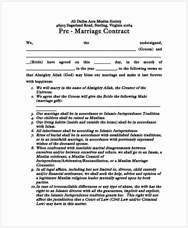 Wedding Videography Contract Template Awesome Marriage Contract Sample