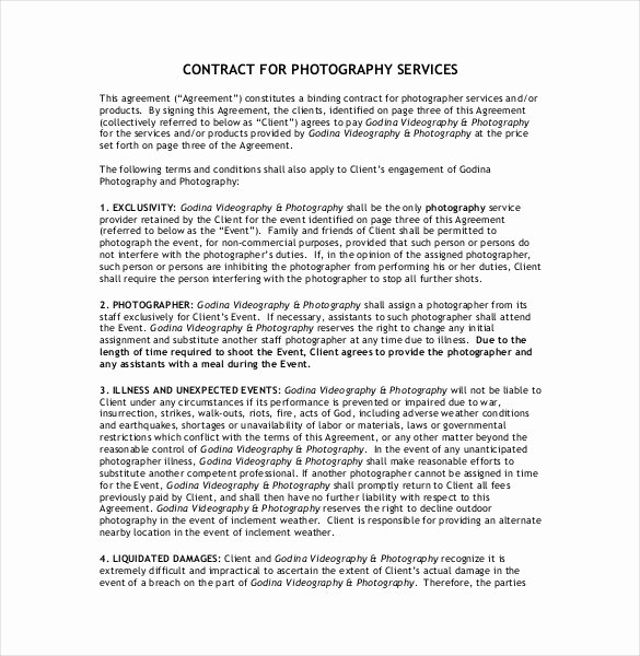 Wedding Videography Contract Template Fresh 20 Graphy Contract Template