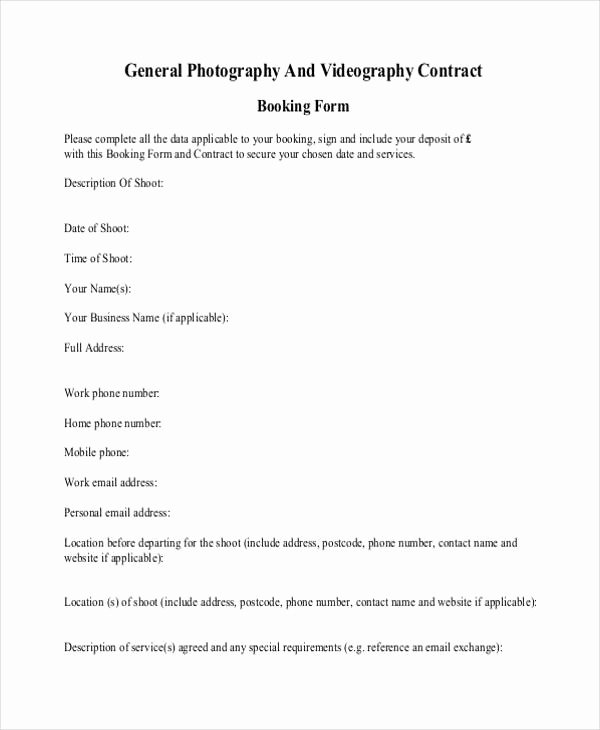 Wedding Videography Contract Template Lovely 10 Graphy Contract form Sample Free Sample