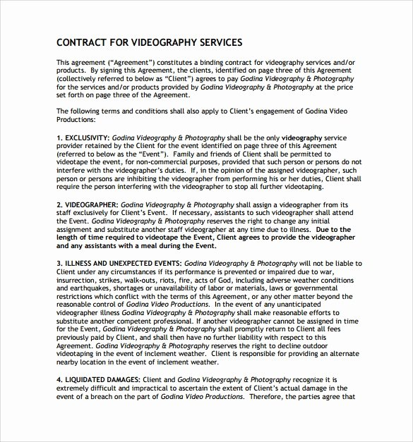 Wedding Videography Contract Template New 9 Videography Contract Templates to Download for Free