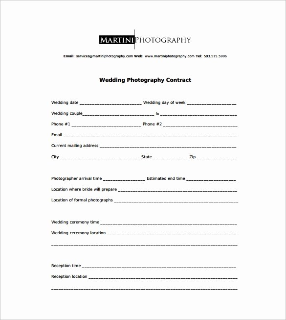 Wedding Videography Contract Template New Graphy Contract 9 Download Free Documents In Word Pdf
