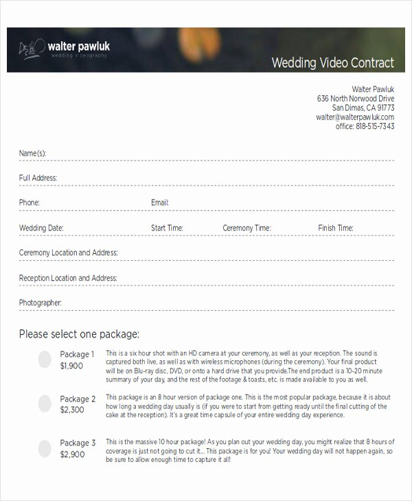 Wedding Videography Contract Template Unique Sample Wedding Contract Agreements 9 Examples In Word Pdf