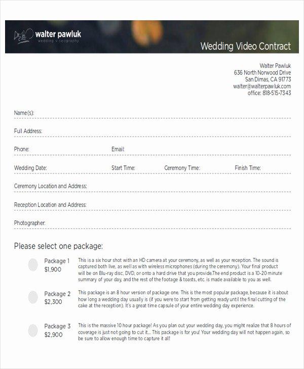 Wedding Videography Contract Template Stcharleschill Template