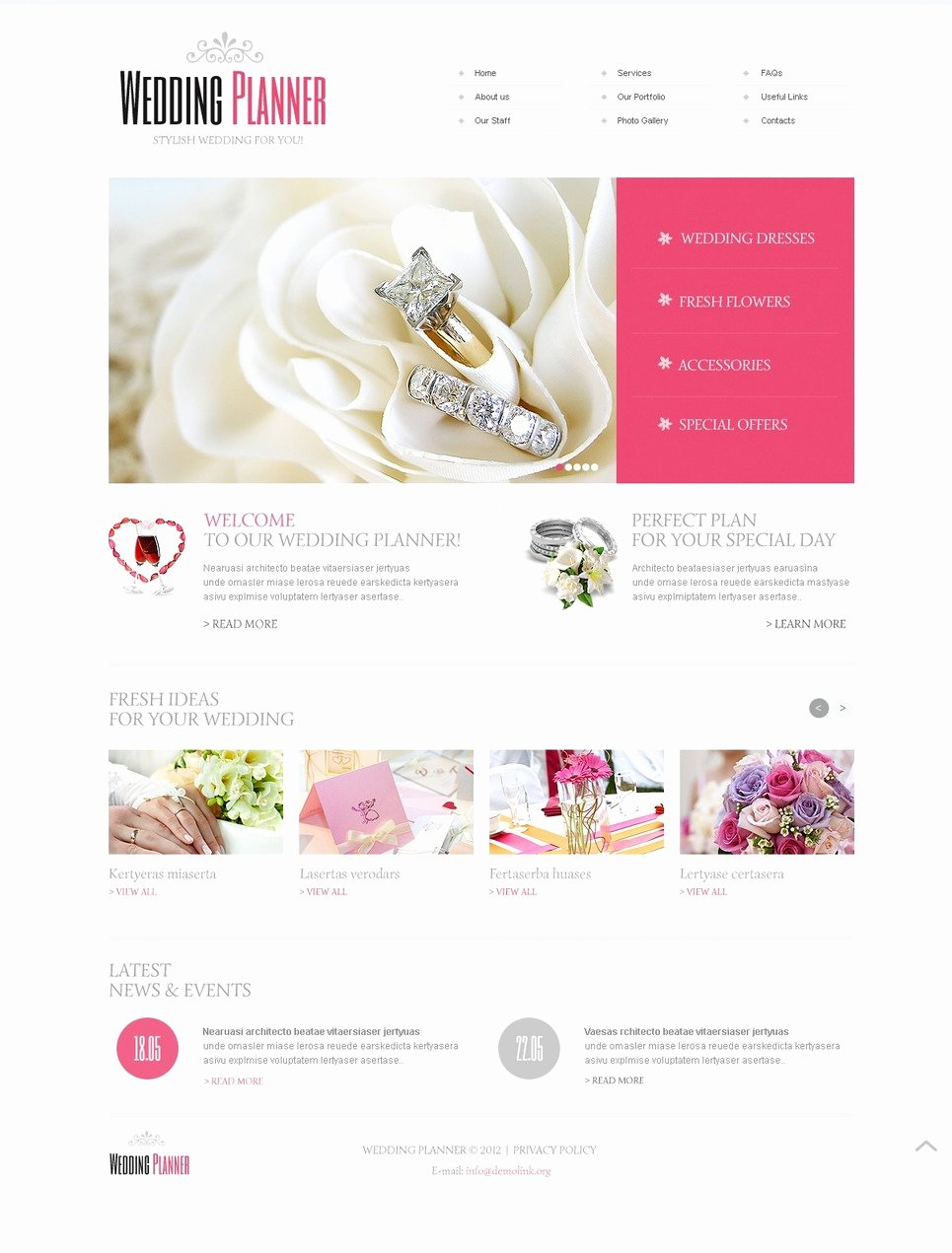 Wedding Web Template Free New Wedding Planner Website Template
