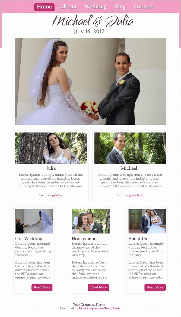 Wedding Website Template Free Lovely 15 Best Free Wedding Templates