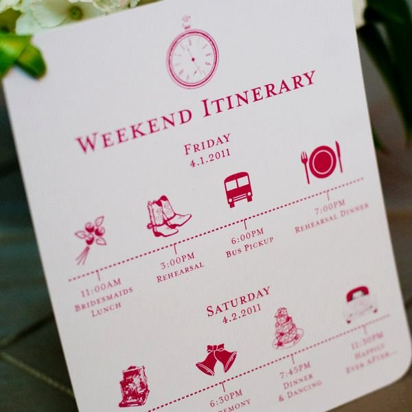 Wedding Weekend Itinerary Template Beautiful Custom Wedding Itinerary Card Wedding