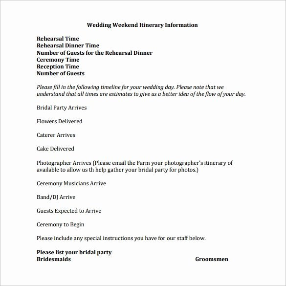 Wedding Weekend Itinerary Template Best Of 13 Sample Wedding Weekend Itinerary Templates