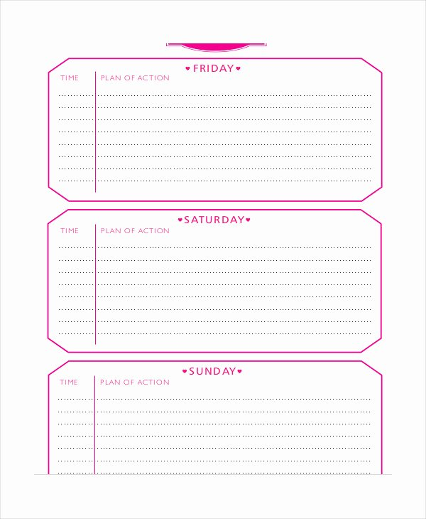 Wedding Weekend Itinerary Template Best Of Weekend Itinerary Template 6 Free Pdf Documents