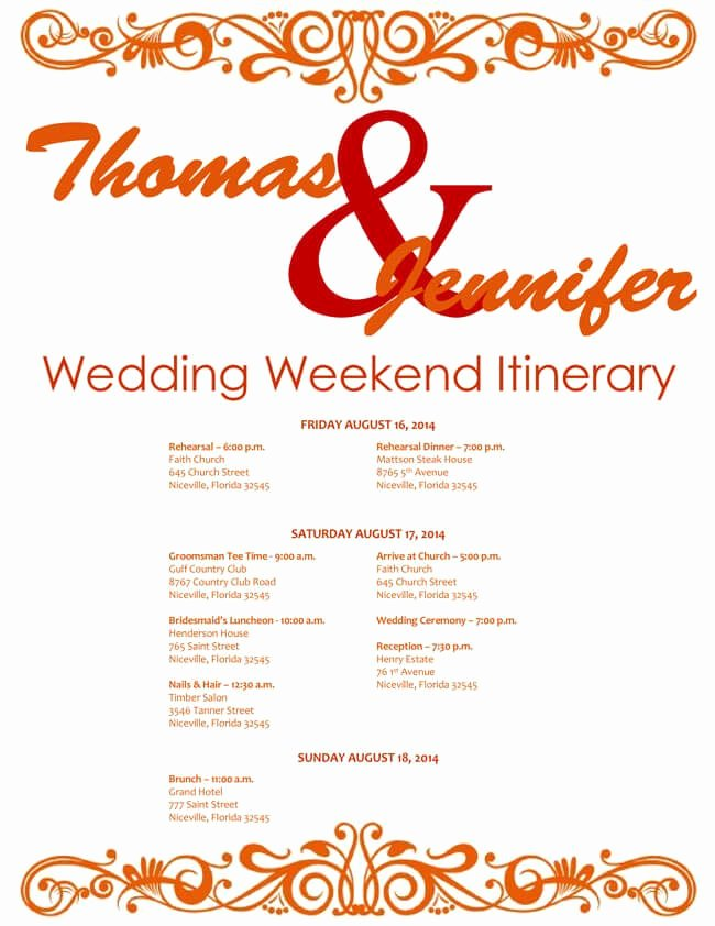 Wedding Weekend Itinerary Template Fresh 6 Free Wedding Itinerary Templates for Word and Excel
