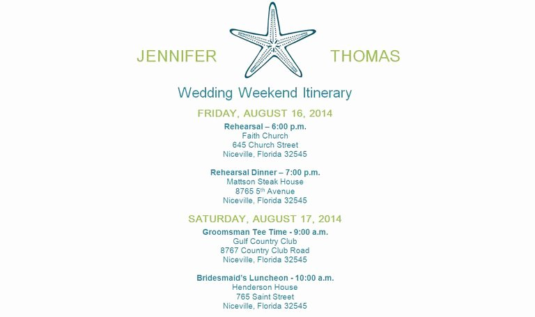 Wedding Weekend Itinerary Template Luxury Free Wedding Itinerary Templates and Timelines