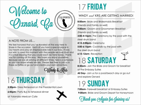 Wedding Weekend Itinerary Template New 6 Weekend Schedule Templates Doc Pdf