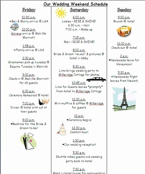 Wedding Weekend Itinerary Template New the 25 Best Wedding Timeline Template Ideas On Pinterest