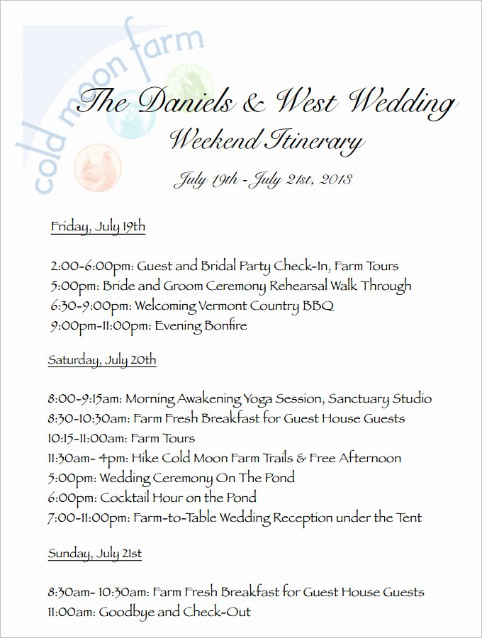 Wedding Weekend Itinerary Template Unique 4 Sample Wedding Weekend Itinerary Templates Doc Pdf