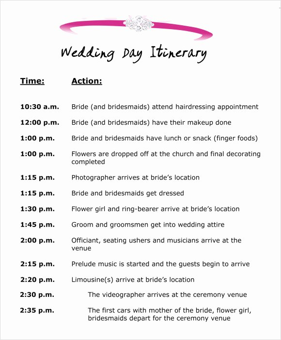 Wedding Weekend Itinerary Template Unique Wedding Itinerary Template 8 Download Free Documents In