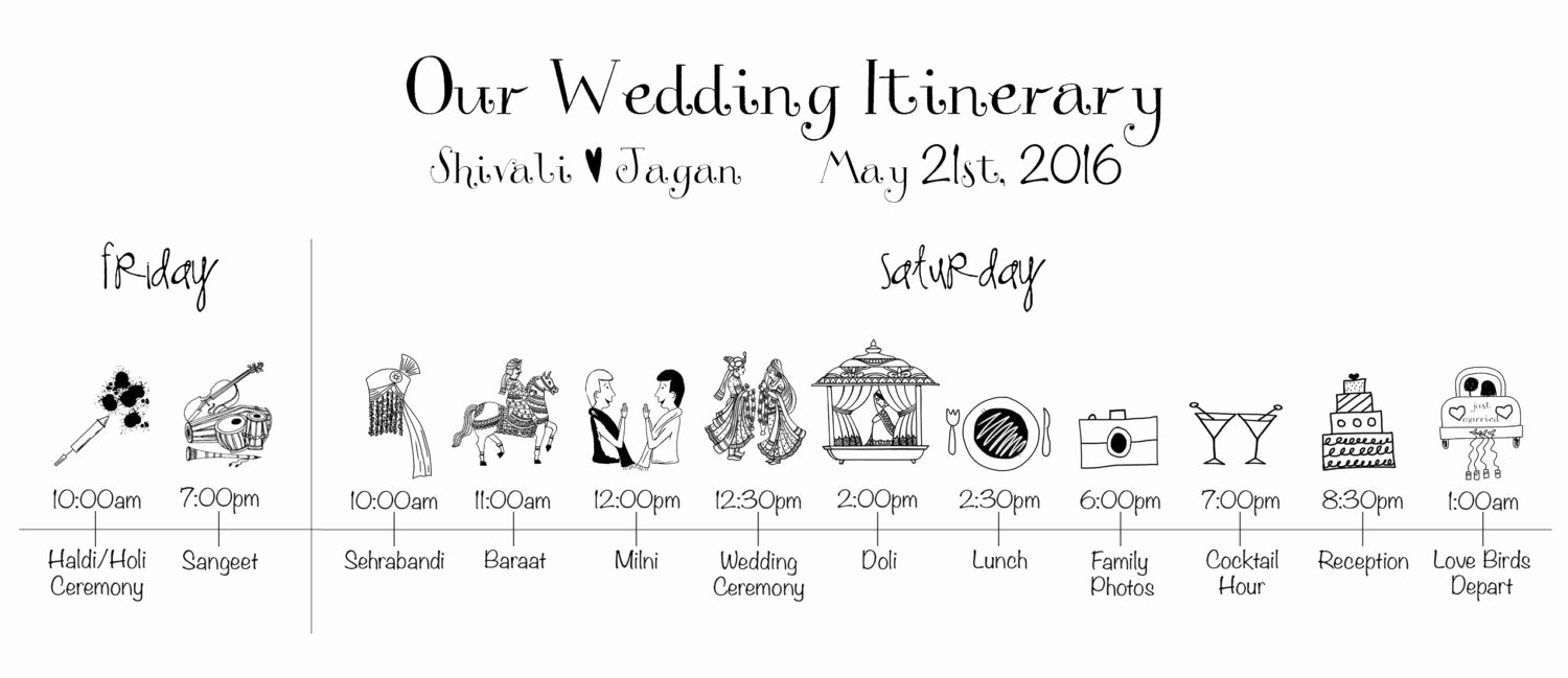 Wedding Weekend Timeline Template Elegant Indian Wedding Timeline Printable Digital File Schedule