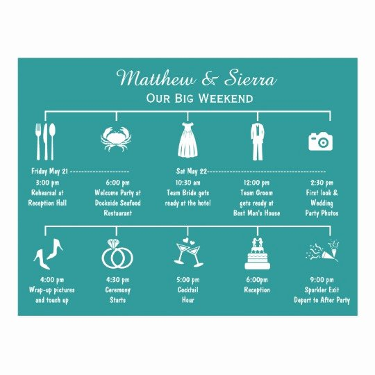 Wedding Weekend Timeline Template Elegant Wedding Weekend Timeline Itinerary Postcard