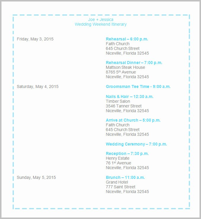 Wedding Weekend Timeline Template Luxury 44 Wedding Itinerary Templates Doc Pdf Psd