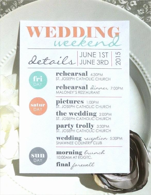 Wedding Weekend Timeline Template New Wedding Schedule Like Itinerary Template Print Ready
