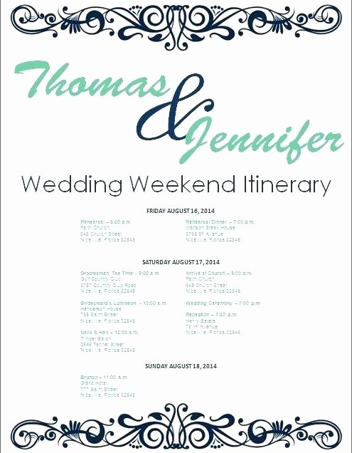 Wedding Weekend Timeline Template Unique Bridal Party Itinerary Template Free Irational Lovely