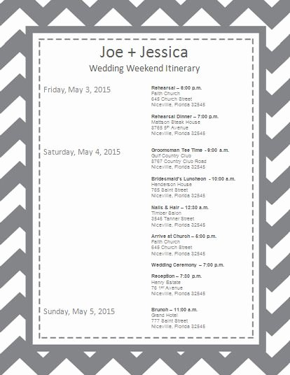 Wedding Weekend Timeline Template Unique Wedding Itinerary Wedding Itinerary Template Bridetodo