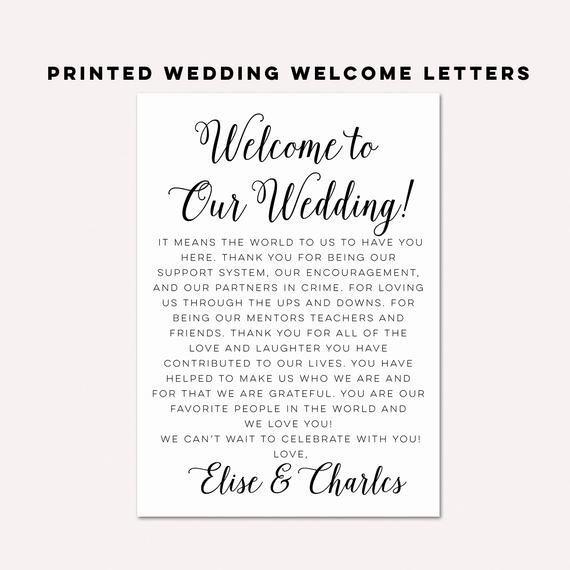 Wedding Welcome Letter Template Beautiful Wedding Wel E Letterswedding Itinerarieswedding by