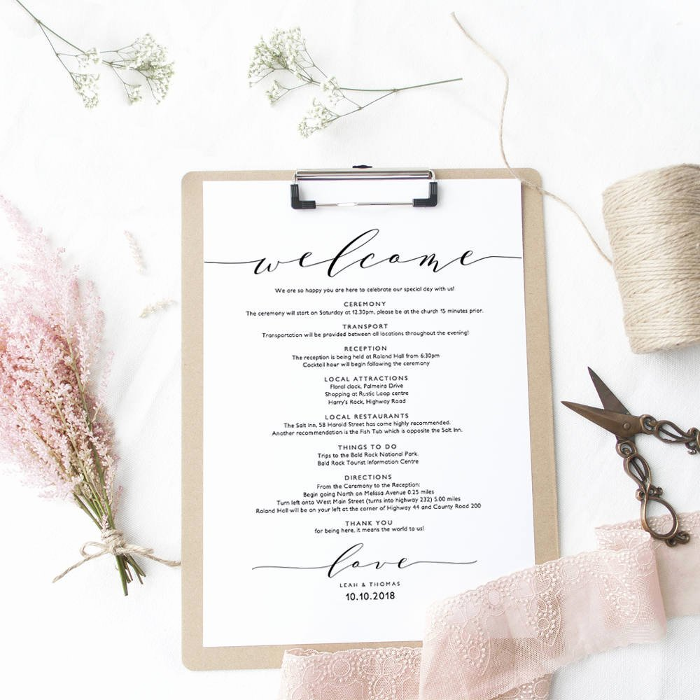Wedding Welcome Letter Template Beautiful Wel E Itinerary Wedding Guest Wel E Letter Template