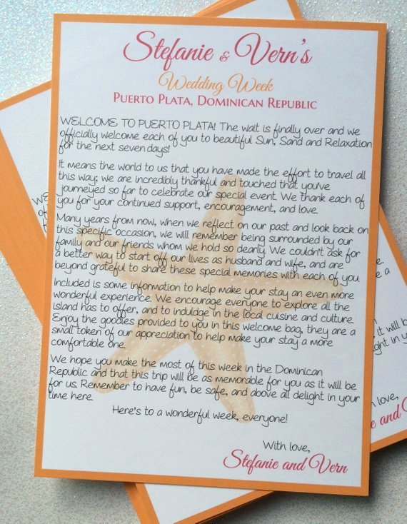 Wedding Welcome Letter Template Best Of Wedding Wel E Letters with Starfish Design for
