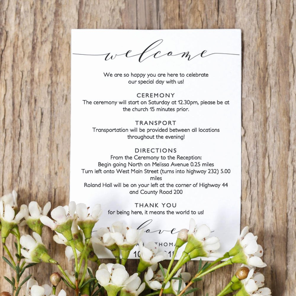 Wedding Welcome Letter Template Fresh Wel E Itinerary 5x7 Wedding Guest Note Wel E Letter