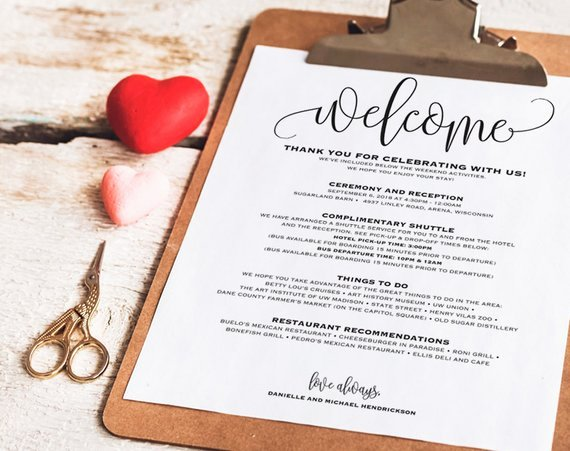 Wedding Welcome Letter Template Inspirational Wedding Itinerary Wel E Bag Printable Itinerary Wel E