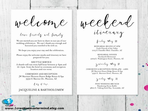 Wedding Welcome Letter Template Lovely Diy Wedding Wel E Bag Note Wel E Bag Letter Printable