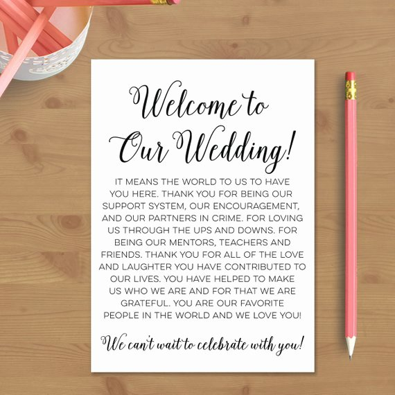 Wedding Welcome Letter Template Luxury Printable Wedding Wel E Letter Instant by