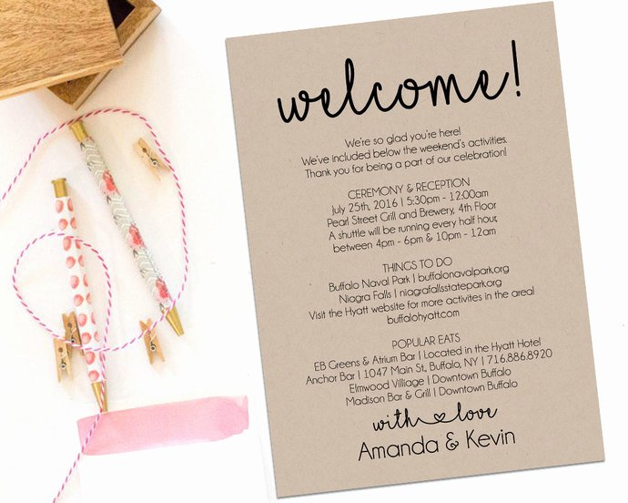 Wedding Welcome Letter Template Luxury Wel E Letter Wedding Itinerary Printable by
