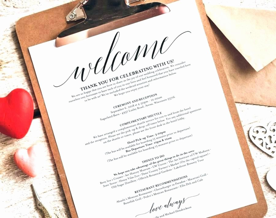 Wedding Welcome Letter Template Unique Free Wedding Wel E Letter Template Great Printable