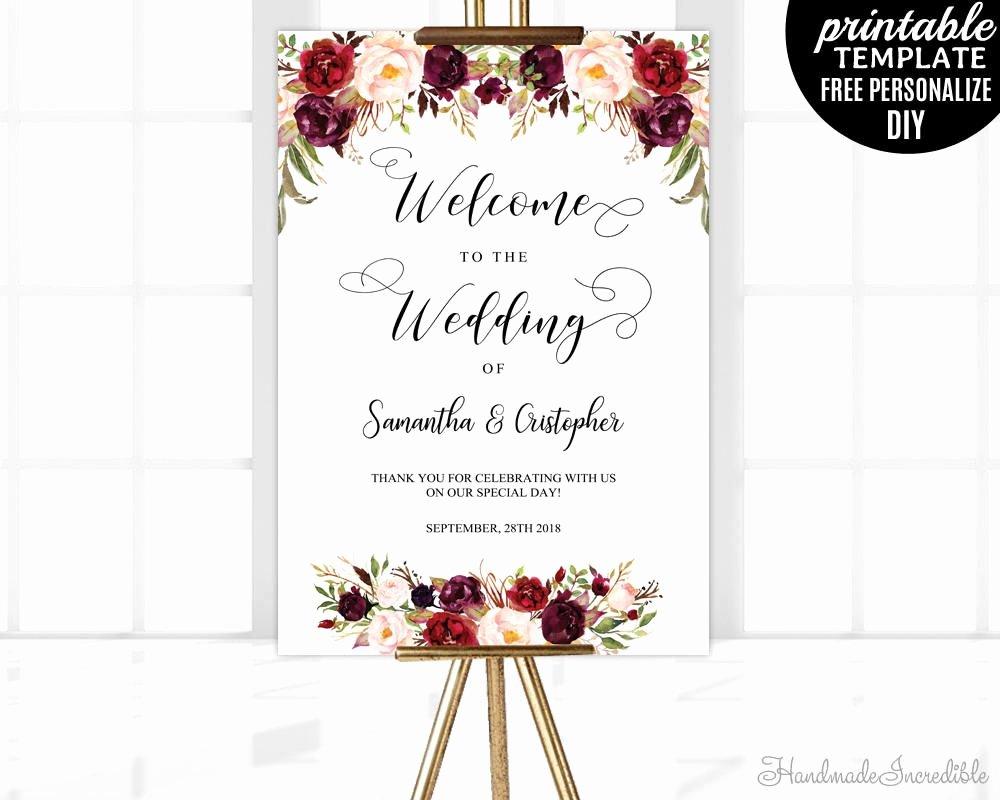 Wedding Welcome Sign Template Beautiful Marsala Wedding Wel E Poster Template Printable Floral