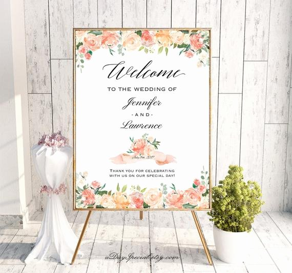 Wedding Welcome Sign Template Beautiful Peach and Crean Wedding Wel E Sign Templates Printable