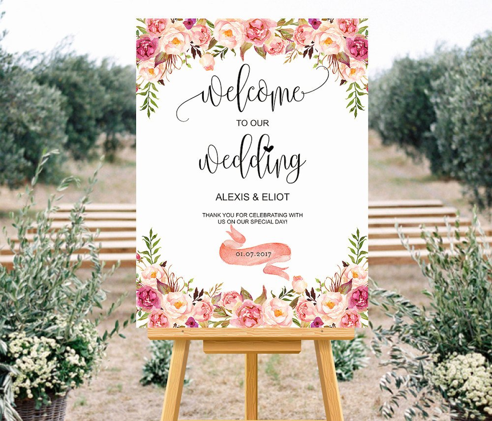 Wedding Welcome Sign Template Beautiful Printable Pink Wedding Wel E Sign Templates Custom Wedding