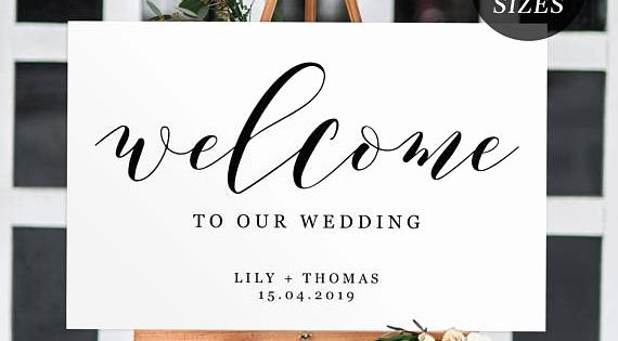Wedding Welcome Sign Template Beautiful Printable Wedding Wel E Sign