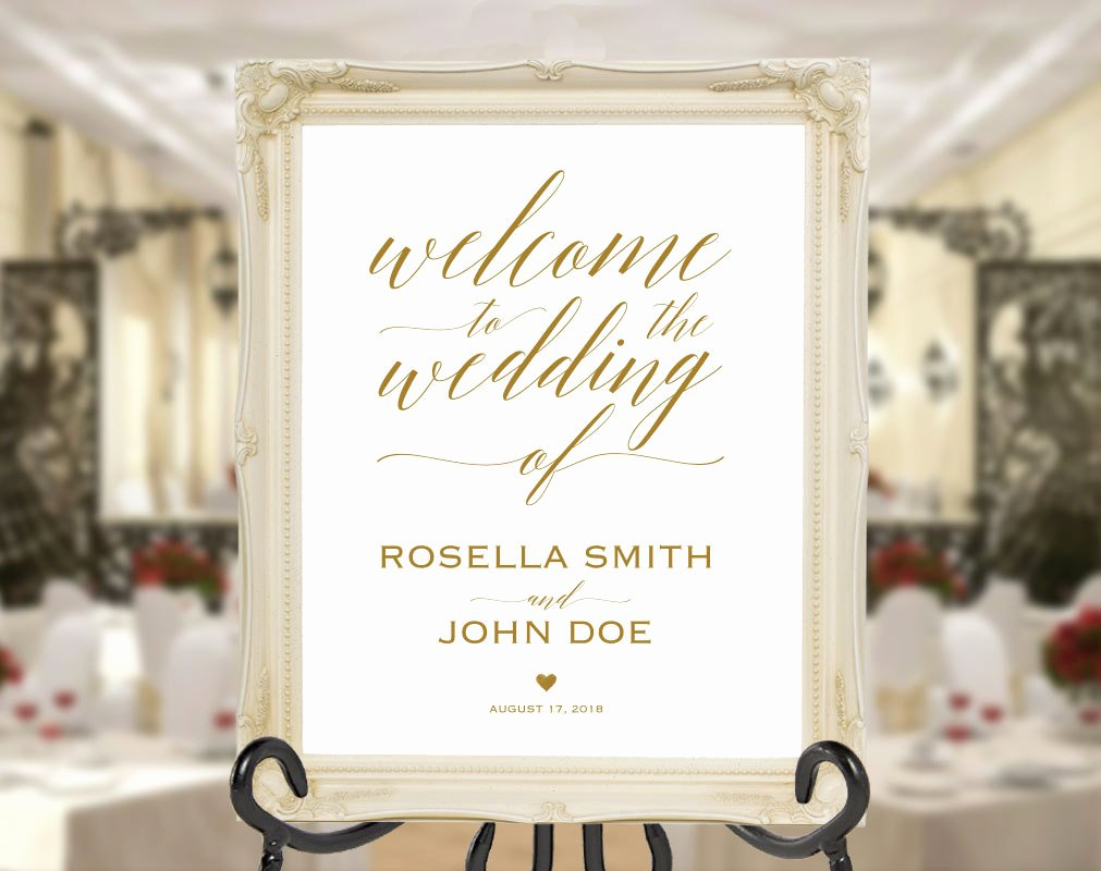 Wedding Welcome Sign Template Elegant Gold Wedding Wel E Sign Template Wel E to Our Wedding