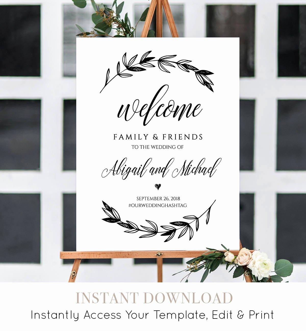 Wedding Welcome Sign Template Elegant Wedding Wel E Sign Template Printable Poster