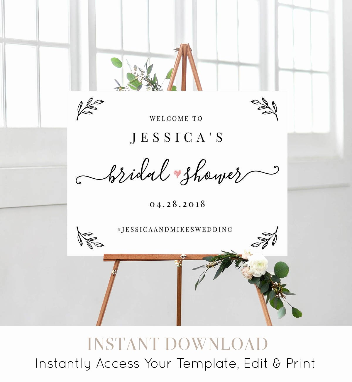 Wedding Welcome Sign Template Fresh Bridal Shower Wel E Sign Template Editable Wedding